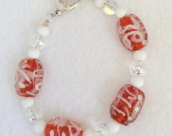 6.5 inch Bracelet with red and white lampwork focal beads