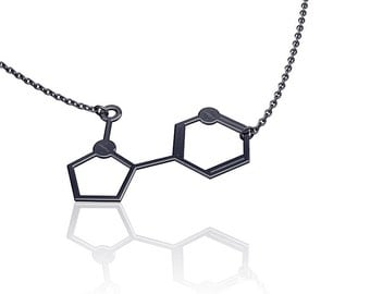 Molecule necklace chemistry jewelry chemistry necklace nicotine necklace  silver molecule necklace