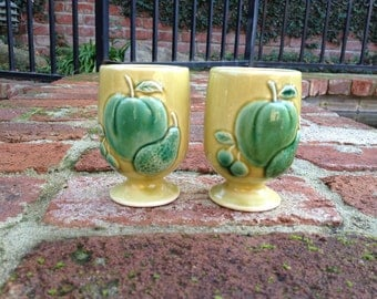 Ceramic Juice Glasses Chartreuse With Teal Fruit Made in Japan