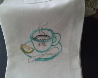 Handmade Embroidery Tea towel/ Napkin with lemon and tea cup