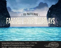 Fantasy Water Overlay Patterns, Enhancing and Improving Photo Tools, Photo Retouch Tools, Light and Dark Waters, Ocean Waves
