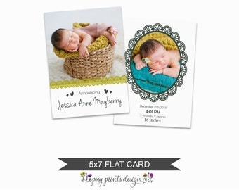 Birth Announcement Card Template - 5x7 Digital Photography Photoshop File - Template for Photographers - NC20 - INSTANT DOWNLOAD