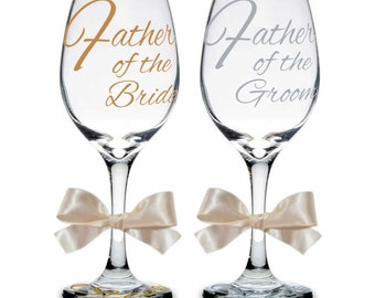 Set of Two (2) Father of Bride & Father of Groom Personalized Wine Glasses, Father of Bride Gift, Father of Groom Gift