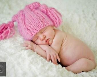 Hat, beanie - Baby hat knit, beanie with tassel