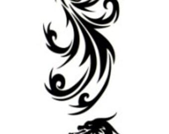 Pheonix & Dragon Temporary Fake Tattoo Bold Body Art Transfer Waterpoof Fancy Dress