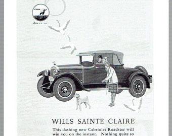 Vintage, Original, 1926 - Wills Sainte Claire Cabriolet Roadster Automobile Advertisement