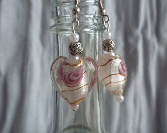 Glass rose dangle earrings
