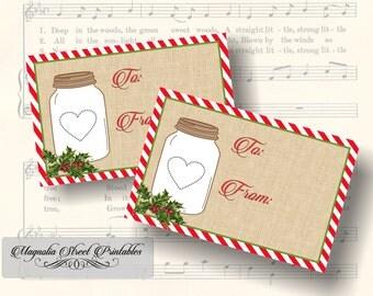 Rustic Mason Jar Holiday Tags, Printable Mason Jar Christmas Tags, Favor Tags, Gift Tags, Christmas Gift Stickers, Instant Digital Download