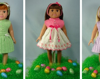 Easter Dresses, Knitting Patterns for 18 inch Dolls - Immediate Downloads - PDF - Fits American Girl Doll