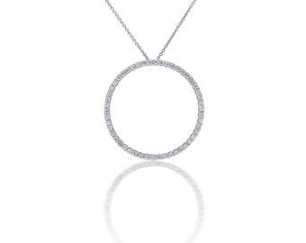 Open Circle Diamond Pendant in 18k White Gold (1.50ct. tw.), Eternity necklace, Eternity Pendnat, Diamond Eternity, White gold Eternity