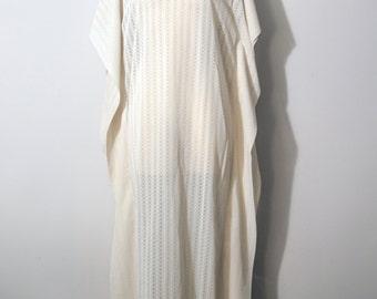 Handmade Sheer Cream Boatneck Lace Maxi Dress   Vintage