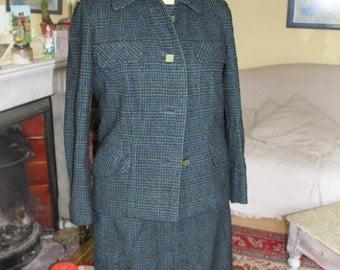 Classic 1960's older ladies blue green wool tweed suit and hat ref 54