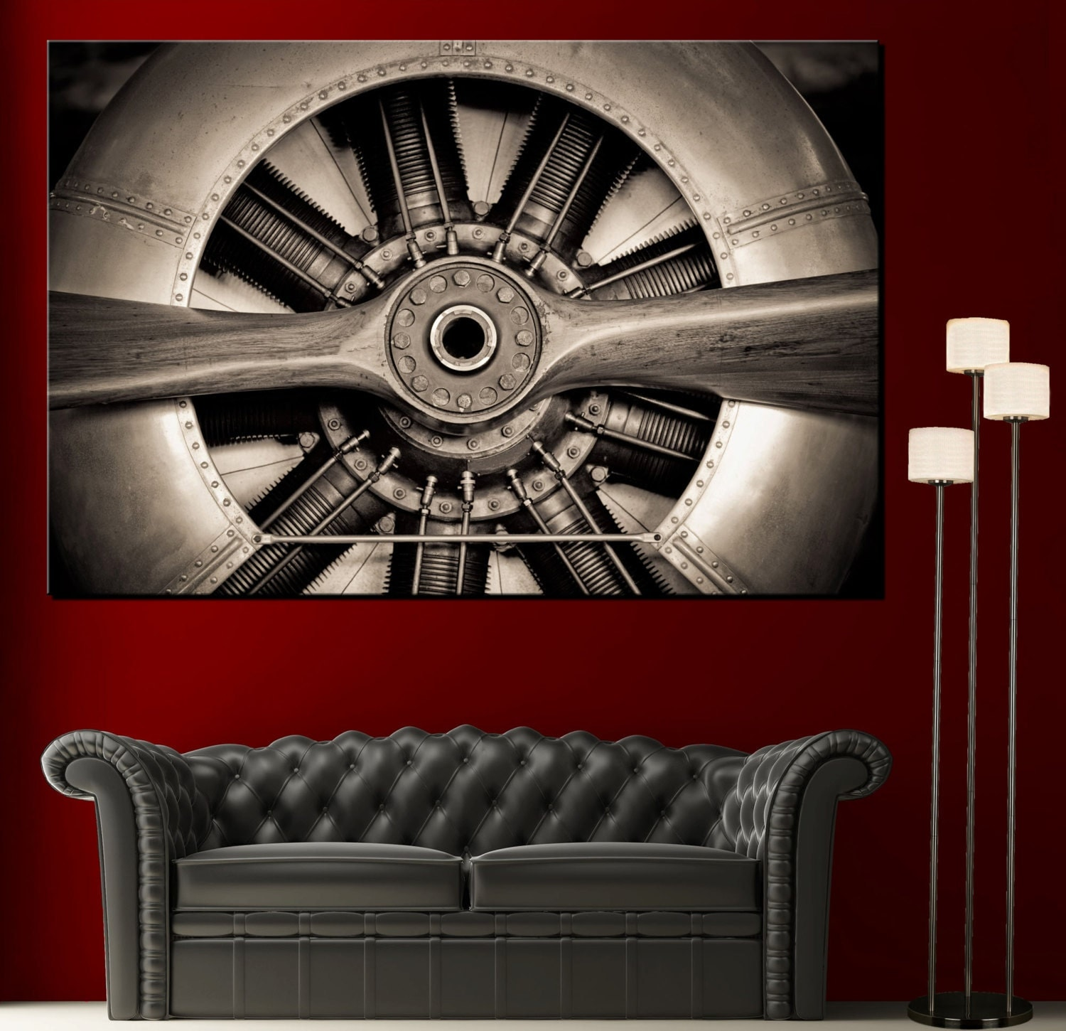 Wall art propeller airplane engine picture black white canvas zoom amipublicfo Choice Image