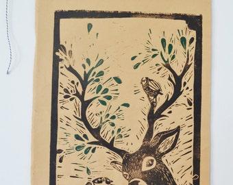 deer antlers, linocut, linocut