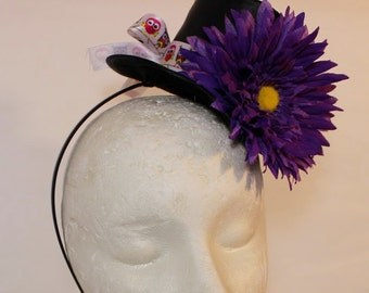 Mini top hat headband flowers and ribbons owl purple