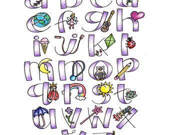 Girly Purple Alphabet Print / Hand Drawn Illustration / 8x10 or 11x14