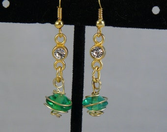 Green and Gold Orbit Earrings