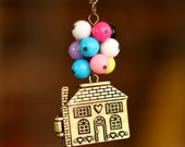 Balloon Necklace,Up necklace,Beadwork Necklace ,Flying House,Flying Dreams, Colorful balloons,children necklace, christmas gift
