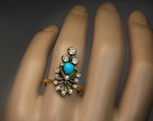 Antique 1800s Victorian Turquoise Diamond Silver Gold Ring