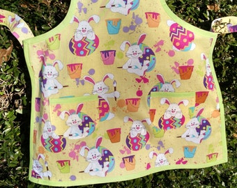 Easter Apron Childrens Easter Apron Bunny Easter Egg Yellow Boys Girls Matching Brother Sister Easter Aprons