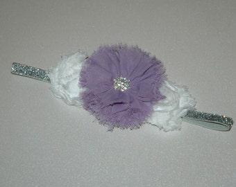 Lavender and White Headband-Frayed Ballerina Bow-Photo Prop-Rhinestone Jewel-Baby Headband
