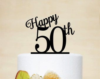 Happy 50th Birthday Cake Topper,50th Anniversary Cake Topper,50th Birthday Cake Topper,Custom Cake Topper-A004