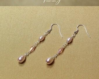 Genuine Freshwater Pearl earrings, Rose Lilac Pearl earrings, 925 Sterling Silver hooks, Bridal and bridesmaids earrings, InfinityCraftArts
