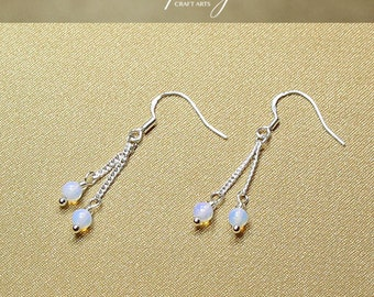 Gemstone Opalite earrings, Double dangle Opalite earrings, 925 Sterling Silver hooks, Crystal earrings, InfinityCraftArts