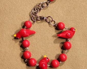Fun Bird Bracelet In Red