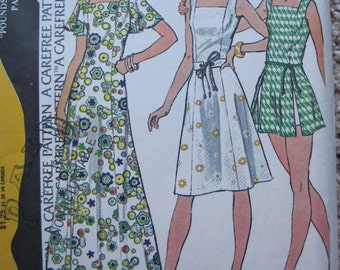 """UNCUT Half Size Dress or Playdress and Shorts - Size 18 1/2 - Bust 41"""" - McCall's Sewing Pattern 4073 - Vintage 1974"""