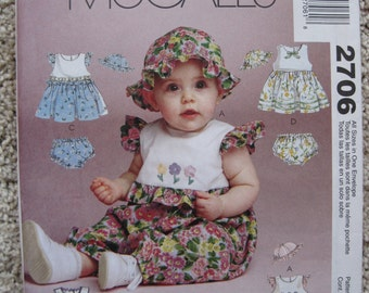 UNCUT Infants Rompers in Two Lengths, Dress, Hat and Panties - McCalls Pattern 2706