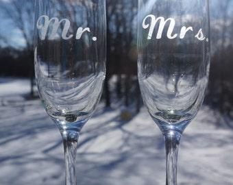 Mr. & Mrs. Etched Champagne Flutes Set; Mr.; Mrs.; Champagne Glass; Flute; Toast; Wedding; Anniversary