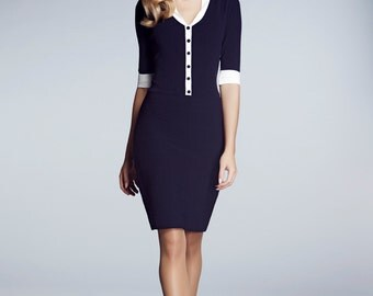 GRACE - Navy knitted bodycon dress with ivory neckline and sleeve detail