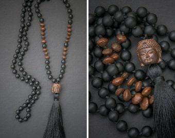 BUDDHA MALA long necklace with a carved wooden Buddha // BUDDHA pendant / silky tassel / lava beads // Buddhist mala rosary fashion look