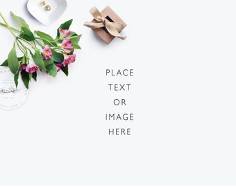 Styled photography | Lillies and a pretty giftbox | Styled Desktop | Digital Download