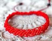 Simple red micro macrame adjustable bracelet ,artisan, hand crafted jewelry