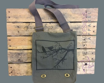 Birds In Tree Canvas Messenger Bag, Crossbody Bag, Laptop Bag, Over The Shoulder Bag, School Bag