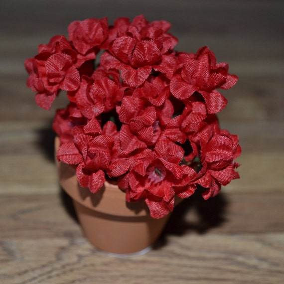 Clay Pot Dolls: Red 18 Doll Flowers In A Clay Pot