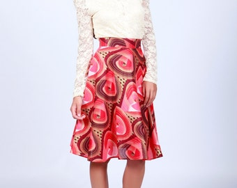 Circle skirt, Red A-line skirt, Printed Skirt