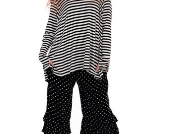 Black and White Striped Sailor Top/Paris Stripe Frenchie Top/Long Sleeve/Thumbhole O/S