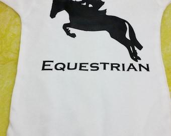 Future Equestrian white and black onesie