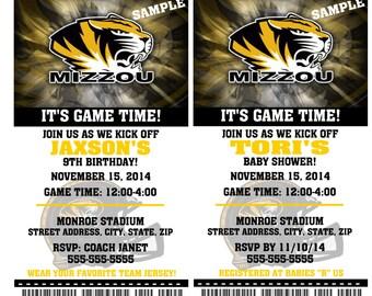 Printable Missouri Tigers Bulldogs College Football Birthday Party Invitation NCAA Ticket Invitation Baby Shower Invitations