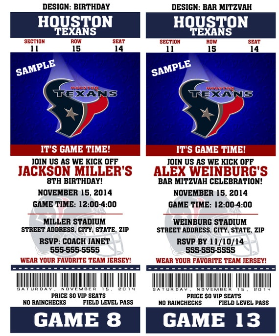 Printable Birthday Party Invitation Card Houston Texans