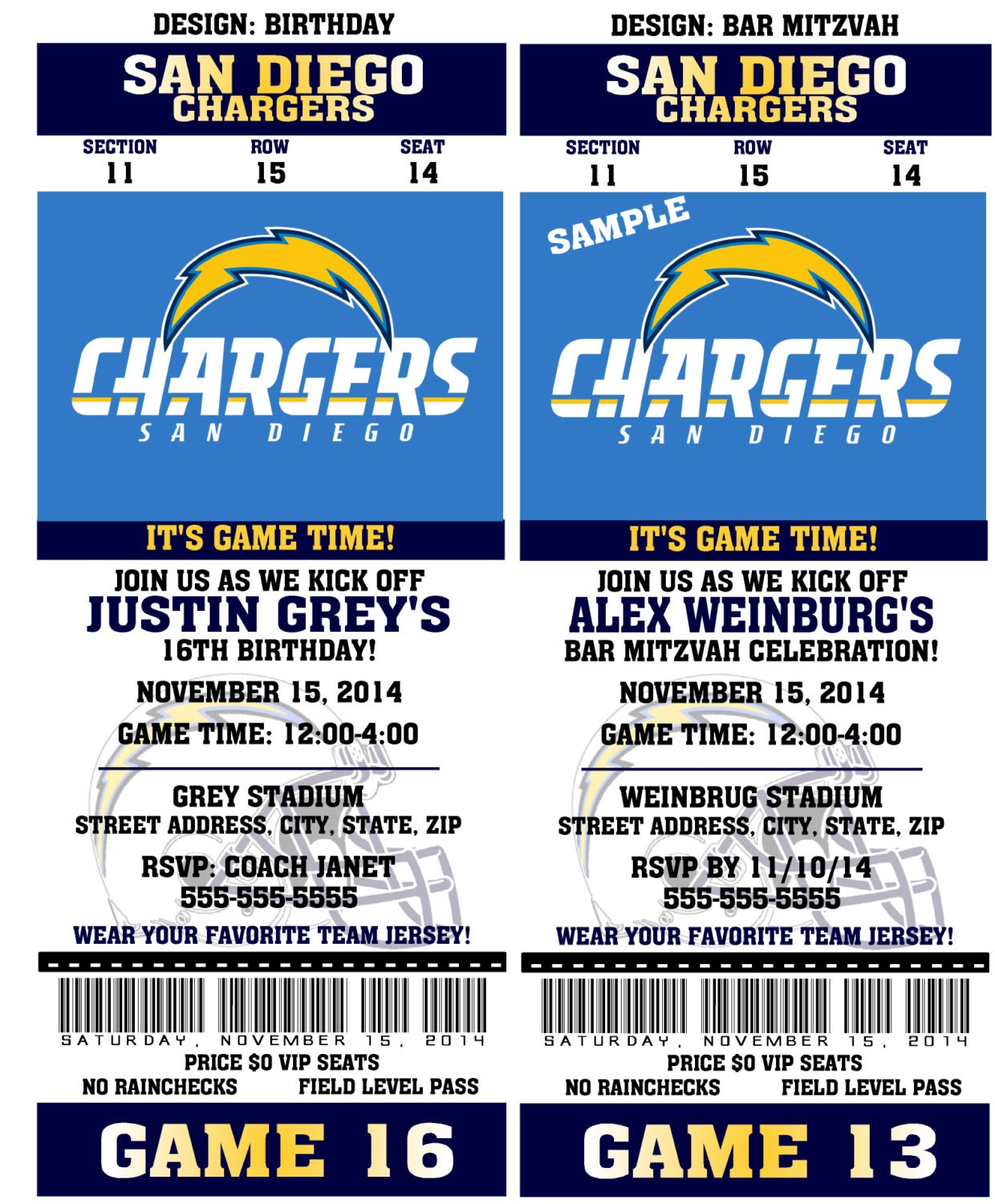 San Diego Chargers Happy Birthday Pictures: Printable Birthday Party Invitation Card San Diego Chargers