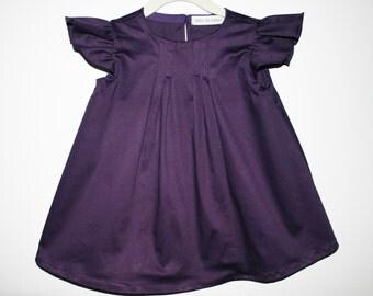 purple Toddler Dress, Flutter Sleeve Dress, purple Baby Dress, Plum Girls Dress, Pleated Girls Dress, Formal Girl Dress, Cotton Dress