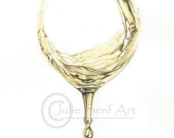 White Wine Pouring Watercolor Painting Print