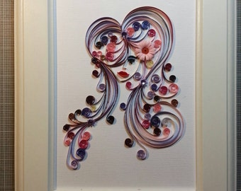 Original Quilling Artwork: Young lady with flowers in her flowing hair