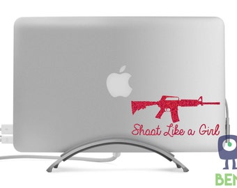 Shoot Like A Girl AR Style Rifle Sparkle Decal Classic Cool Artistic for MacBook, Laptop, Car, or Anything - Many Glitter Colors Available