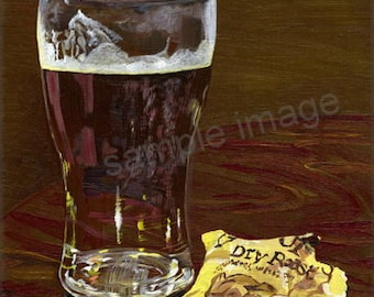 Simply Beer & Nuts, Original Still life Oil Painting of a Pint of Yorkshire Ale and Dry Roasted Nuts by Yorkshire Artist Claire Strickland