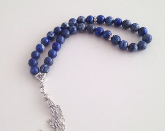 Lapis Lazuli Turkish Islamic 33 Prayer Beads, Tesbih, Tasbih, Misbaha, Worry Beads, Masbaha, Rosary, Tasbeeh - FREE SHIPPING